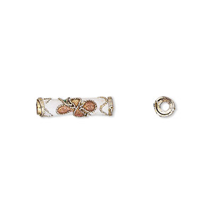 bead, cloisonne, enamel and gold-finished copper, white / pink / green, 16x4mm round tube with flower design. sold per pkg of 4.