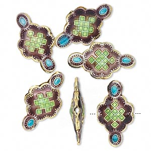 bead, cloisonne, gold-finished brass, purple/green/blue, 21x11mm flower with squares. sold per pkg of 6.