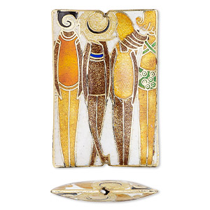 bead, cloisonne, multicolored, 59x40mm double-sided rectangle with standing figure design. sold individually.