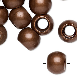 bead, coated acrylic, matte antique bronze, 14x11mm rondelle. sold per pkg of 24.