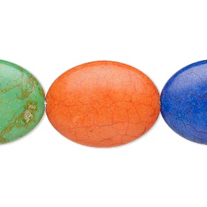 bead, coated ceramic, multicolored, 39x29mm-39x30mm puffed oval. sold per 8-inch strand.