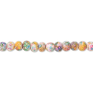 bead, coated glass, multicolored, 4mm round with 0.5-0.7mm hole. sold per 16-inch strand.
