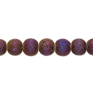 bead, coated glass, opaque matte purple ab, 7-8mm uneven round. sold per 16-inch strand.