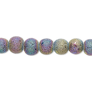 bead, coated glass, opaque matte rainbow, 7-8mm uneven round. sold per 16-inch strand.