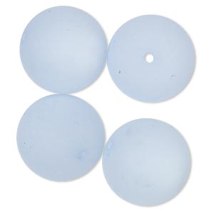 bead, cool frost resin beads™, resin, frosted matte light blue, 18mm round. sold per pkg of 4.