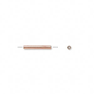 bead, copper, 12.7x1.5mm tube. sold per pkg of 100.