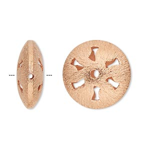 bead, copper, 20mm brushed puffed flat round with cutouts. sold per pkg of 4.