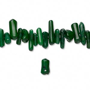 bead, coral (dyed), dark green, 6x2mm-15x5mm cupolini, mohs hardness 3-1/2 to 4. sold per 16-inch strand.