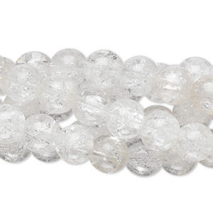 bead, crackle glass, clear, 7-8mm round. sold per pkg of five 15-inch strands.