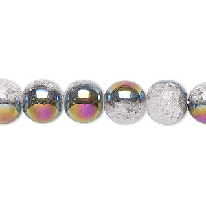 bead, crackle glass, clear with half-coat iris purple, 9-10mm round. sold per 15-inch strand.