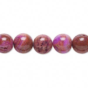 bead, crazy lace agate (dyed), fuchsia, 10mm round with 0.5-1.5mm hole, b grade, mohs hardness 6-1/2 to 7. sold per 16-inch strand.
