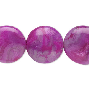 bead, crazy lace agate (dyed), fuchsia, 20mm puffed flat round, b grade, mohs hardness 6-1/2 to 7. sold per 8-inch strand, approximately 10 beads.