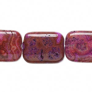 bead, crazy lace agate (dyed), fuchsia, 20x15mm puffed rectangle, b grade, mohs hardness 6-1/2 to 7. sold per 16-inch strand.