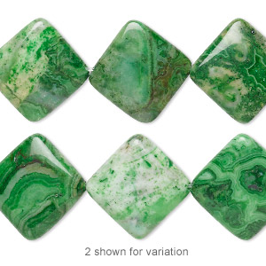 bead, crazy lace agate (dyed), green, 23x23mm diamond, b grade, mohs hardness 6-1/2 to 7. sold per 8-inch strand, approximately 10 beads.