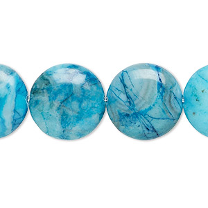 bead, crazy lace agate (dyed), light to dark blue, 16mm flat round, b grade, mohs hardness 6-1/2 to 7. sold per 16-inch strand.