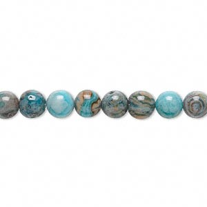 bead, crazy lace agate (dyed), light to dark blue, 6mm round, b grade, mohs hardness 6-1/2 to 7. sold per 16-inch strand.