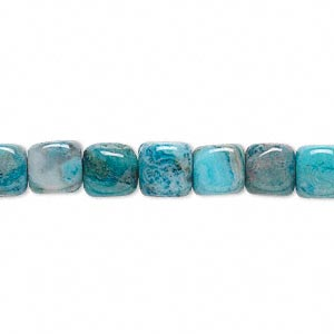 bead, crazy lace agate (dyed), sky blue, 7x7mm cube, b grade, mohs hardness 6-1/2 to 7. sold per 16-inch strand.