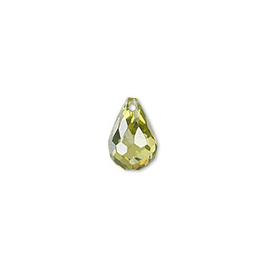 bead, cubic zirconia, peridot green, 12x8mm top-drilled faceted teardrop, mohs hardness 8-1/2. sold per pkg of 2.