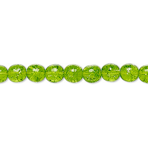 bead, czech crackle glass druk, green, 6mm round. sold per 16-inch strand, approximately 65 beads.