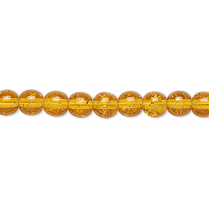 bead, czech crackle glass druk, honey, 6mm round. sold per 16-inch strand, approximately 65 beads.