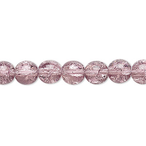 bead, czech crackle glass druk, mauve, 8mm round. sold per 16-inch strand, approximately 50 beads.