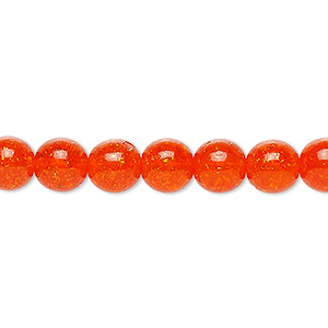 bead, czech crackle glass druk, orange, 8mm round. sold per 16-inch strand, approximately 50 beads.