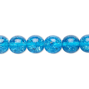 bead, czech crackle glass druk, turquoise blue, 10mm round. sold per 16-inch strand, approximately 40 beads.