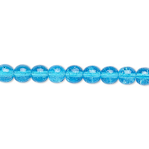 bead, czech crackle glass druk, turquoise blue, 6mm round. sold per 16-inch strand, approximately 65 beads.