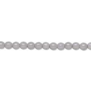 bead, czech dipped decor glass druk, blue grey, 4mm round. sold per 16-inch strand.