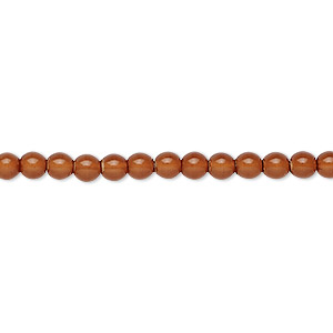 bead, czech dipped decor glass druk, caramel, 4mm round. sold per 16-inch strand.