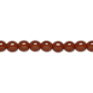 bead, czech dipped decor glass druk, caramel, 6mm round. sold per 16-inch strand.