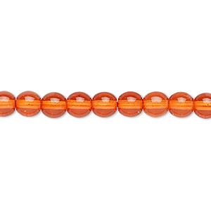 bead, czech dipped decor glass druk, orange, 6mm round. sold per 16-inch strand.