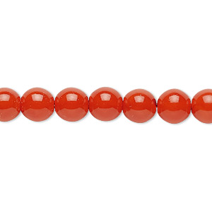 bead, czech dipped decor glass druk, red-orange, 8mm round. sold per 16-inch strand.