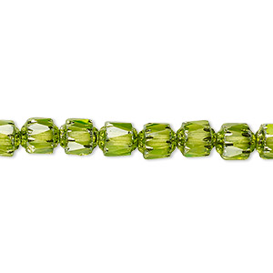 bead, czech dipped decor glass, lime green apollo ab, 6mm round cathedral. sold per 16-inch strand.