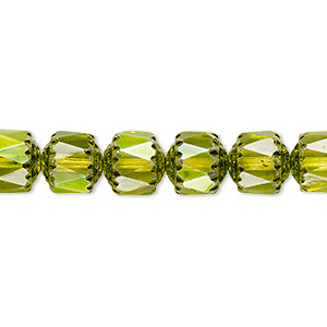 bead, czech dipped decor glass, lime green apollo ab, 8mm round cathedral. sold per 16-inch strand.