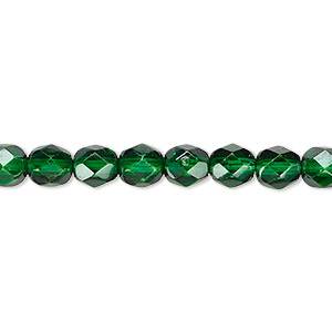bead, czech fire-polished dipped decor glass, emerald green, 6mm faceted round. sold per 16-inch strand, approximately 65 beads.