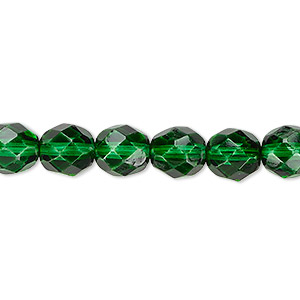 bead, czech fire-polished dipped decor glass, emerald green, 8mm faceted round. sold per 16-inch strand, approximately 50 beads.