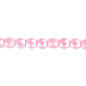bead, czech fire-polished dipped decor glass, opaque pearlescent light pink, 6mm faceted round. sold per 16-inch strand.