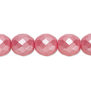bead, czech fire-polished dipped decor glass, pearlescent dusty rose, 12mm faceted round. sold per pkg of 600 (1/2 mass).