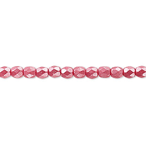 bead, czech fire-polished dipped decor glass, pearlescent dusty rose, 4mm faceted round. sold per 16-inch strand.