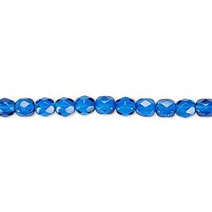 bead, czech fire-polished dipped decor glass, sapphire blue, 4mm faceted round. sold per 16-inch strand, approximately 100 beads.