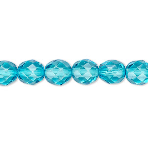 bead, czech fire-polished dipped decor glass, turquoise blue, 8mm faceted round. sold per 16-inch strand, approximately 50 beads.