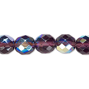 bead, czech fire-polished glass, amethyst purple ab, 10mm faceted round. sold per 16-inch strand.