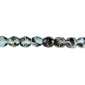bead, czech fire-polished glass, black and turquoise blue, 6mm faceted round. sold per 16-inch strand, approximately 65 beads.