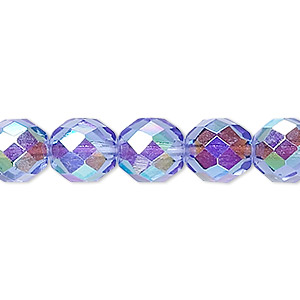 bead, czech fire-polished glass, blue ab, 10mm faceted round. sold per 16-inch strand.