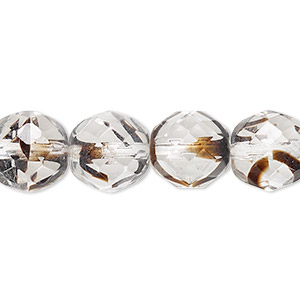 bead, czech fire-polished glass, clear / black / brown, 12mm faceted round. sold per 16-inch strand.