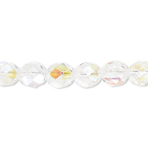 bead, czech fire-polished glass, clear ab, 8mm faceted round. sold per 16-inch strand.