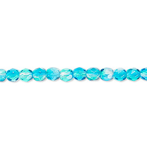 bead, czech fire-polished glass, clear and blue, 4mm faceted round. sold per 16-inch strand, approximately 100 beads.