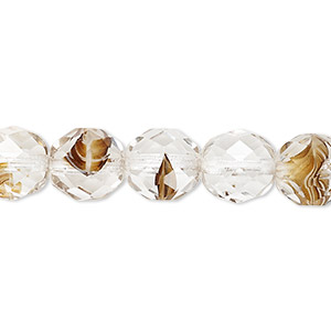 bead, czech fire-polished glass, clear and brown, 10mm faceted round. sold per 16-inch strand, approximately 40 beads.