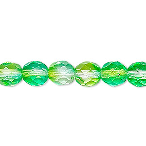 bead, czech fire-polished glass, clear and green, 8mm faceted round. sold per 16-inch strand, approximately 50 beads.